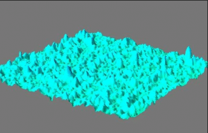 3-D representation of a plasma-coated cast metal strip surface