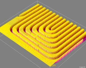 Fuel cell bipolar plate – 3D surface with deep channels