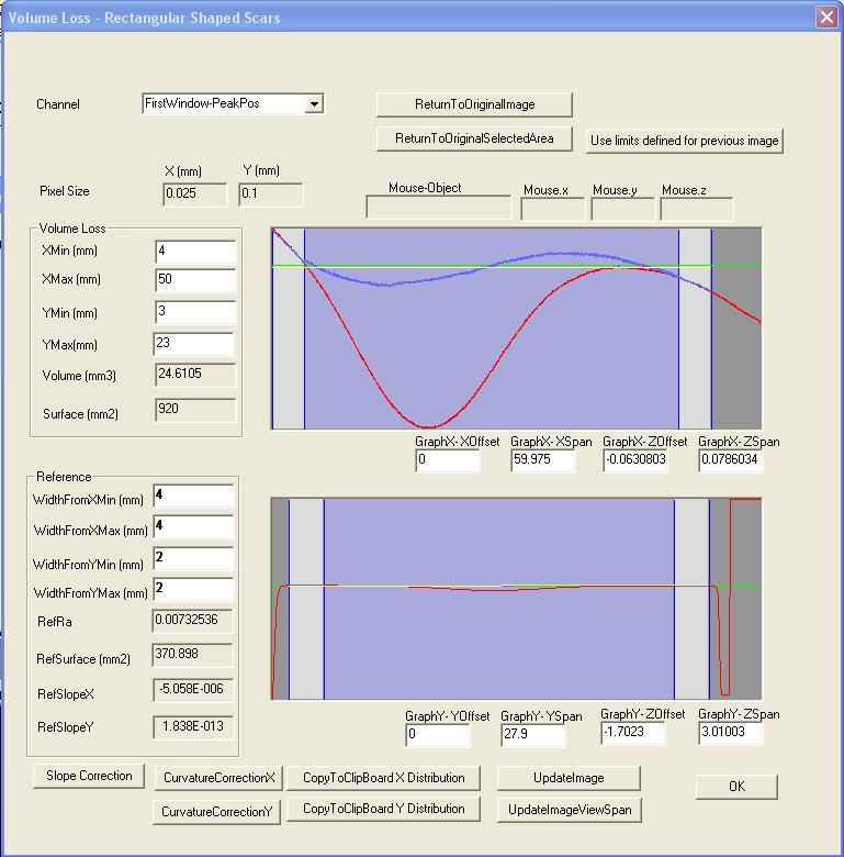 Novacam Volume Loss Application: scan control user interface