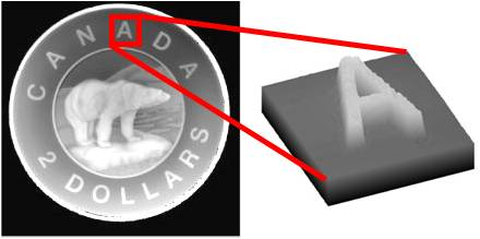 3D profilometry and imaging of a coin with low-coherence interferometry.