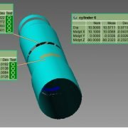 3D bore measurement data from an automated inspection of 4 bores in a valve body
