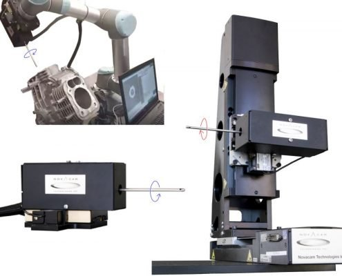 BoreInspect performs in a wide range of industrial inspection applications and settings (bottom left: the rotational scanner RS2 on linear stage, top left: RS2 on a robotic arm, right: RS2 on a 3-axis inspection station, also called RS4)