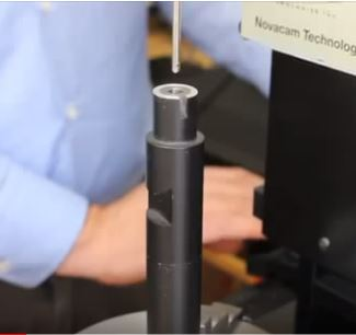 TubeInspect small-diameter probe about to enter a 5.6-mm diameter bore