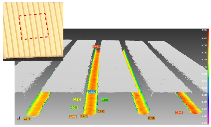 CMP pad measurement example - close-up of a 10x10mm square of CMP pad surface, and 3D point cloud data obtained with Novacam SurfaceInspect reveals the depth and shape of the narrow channels down to the micron.