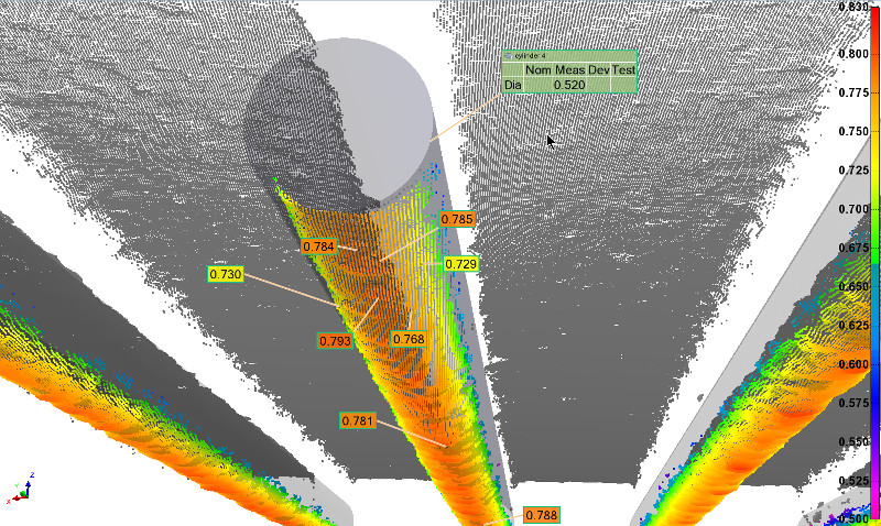 View from below of the CMP pad grooves clearly shows the tool marks of the bit used to machine the channels. Perfect cylinders were fitted on each groove to obtain a mean radius measurement. Here, the measured radii of curvature were found to vary between 475 and 528 μm
