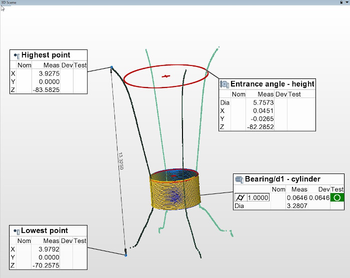 An alternative recipe for measuring and analyzing the above precision die.   4 linear profiles of the tapered interior and one dense spiral profile of the middle cylindrical section can provide adequate 3D data for many measurements.